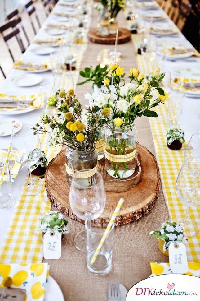 Sommertischdeko selber machen - Blumendeko Ideen