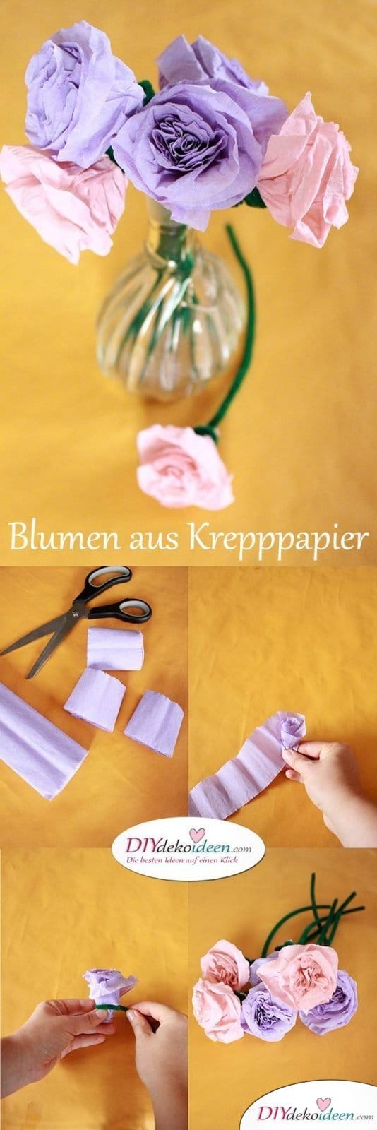 spielerisch rosen basteln mit krepppapier diy bastelideen f r kinder. Black Bedroom Furniture Sets. Home Design Ideas