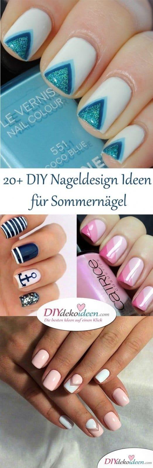 20 DIY Nageldesign Ideen Sommernägel - Trends 2017