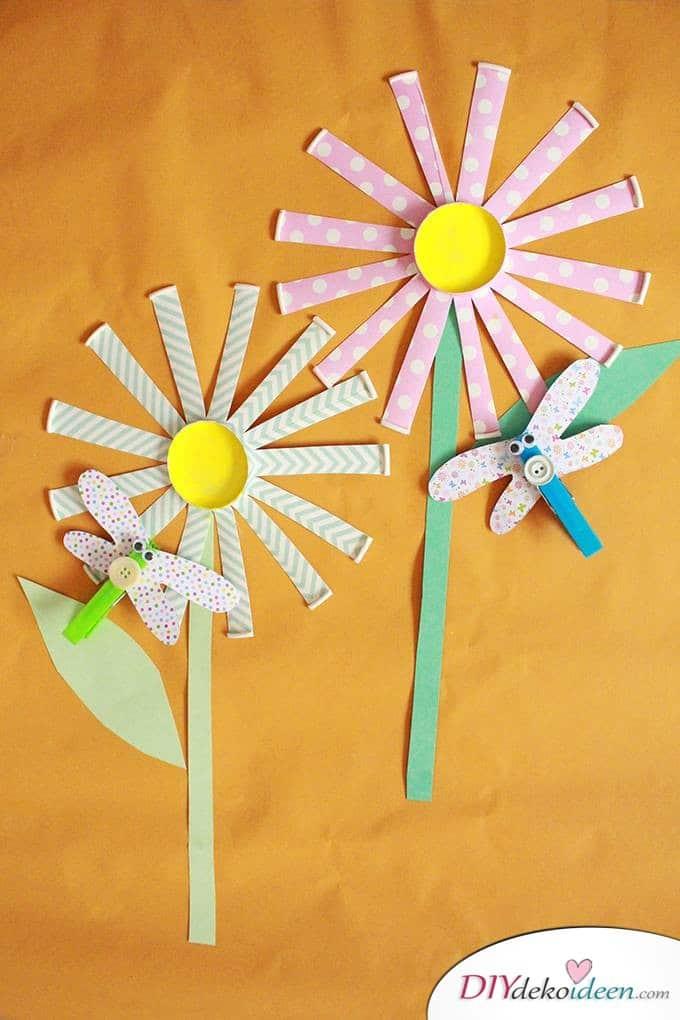 Kinderparty DIY Bastelideen - Pappbecherblumen