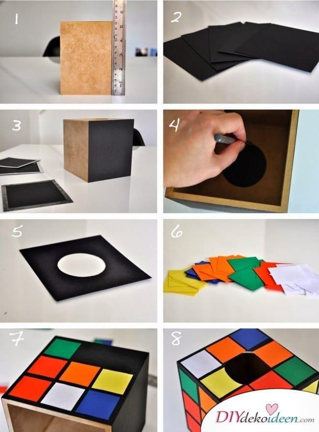 Günstige Geschenkideen - DIY Zauberwürfel-Taschentuchbox 01