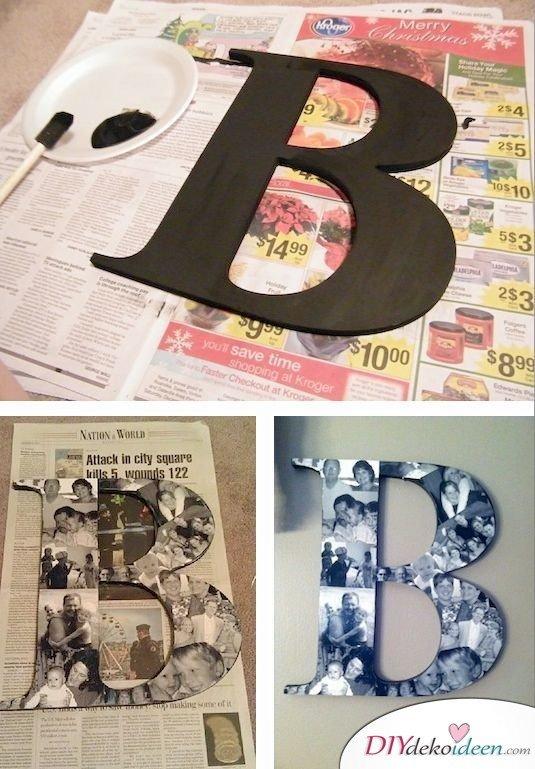 Günstige Geschenkideen - DIY Buchstaben mit Fotocollage