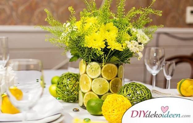 Tischdeko mit Zitronen - DIY Dekoideen für Partys