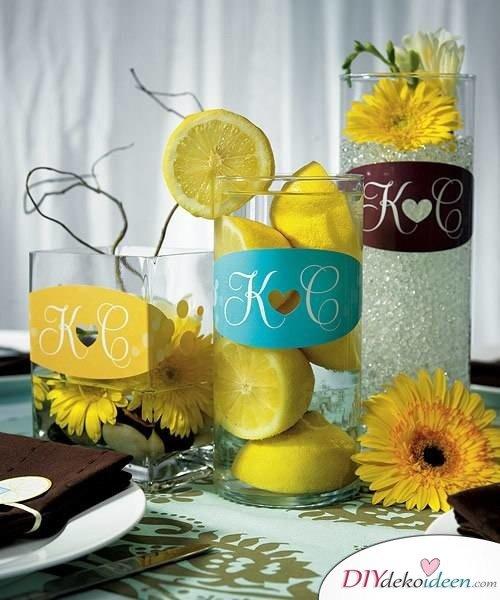 Tischdeko mit Zitronen - DIY Hochzeit Dekoideen