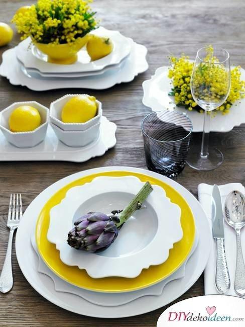 Tischdeko mit Zitronen - DIY Dinner Dekoideen