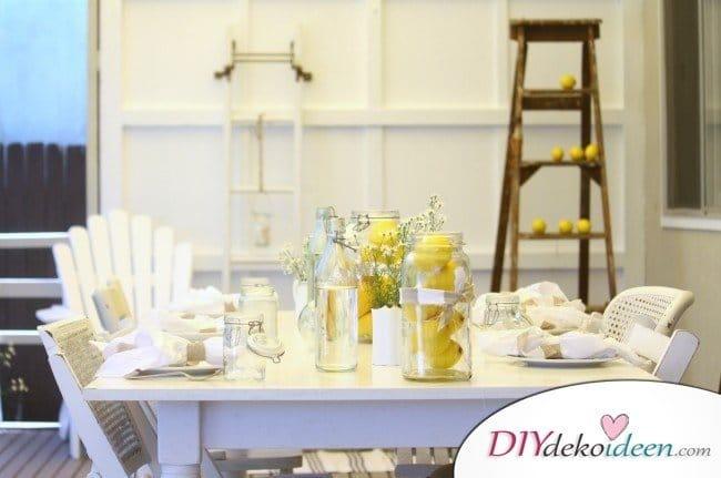 Tischdeko mit Zitronen - DIY Tisch Deko