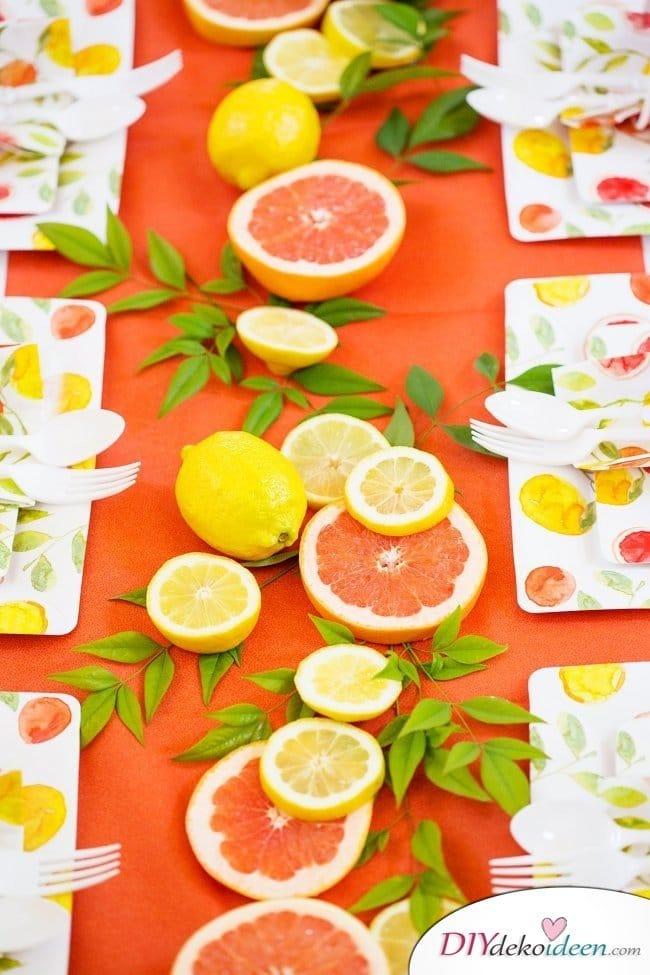 Tischdeko mit Zitronen - DIY Sommertisch Deko