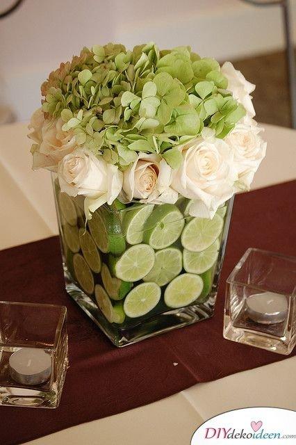 Tischdeko mit Zitronen - DIY Hochzeit Deko
