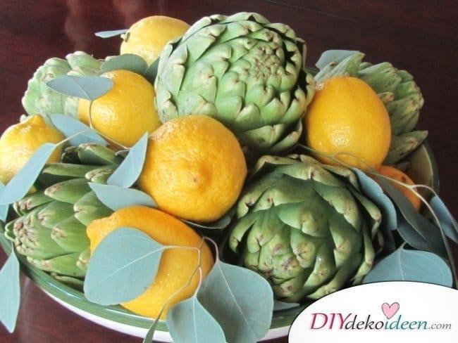 Tischdeko mit Zitronen - DIY Sommer Deko