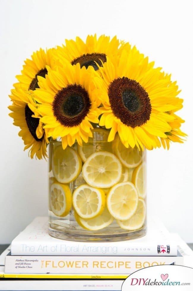 Tischdeko mit Zitronen - DIY Sommer Tischdeko Ideen