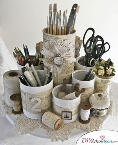 15+ DIY Bürodeko Ideen - DIY Stiftehalter basteln mit Dosen