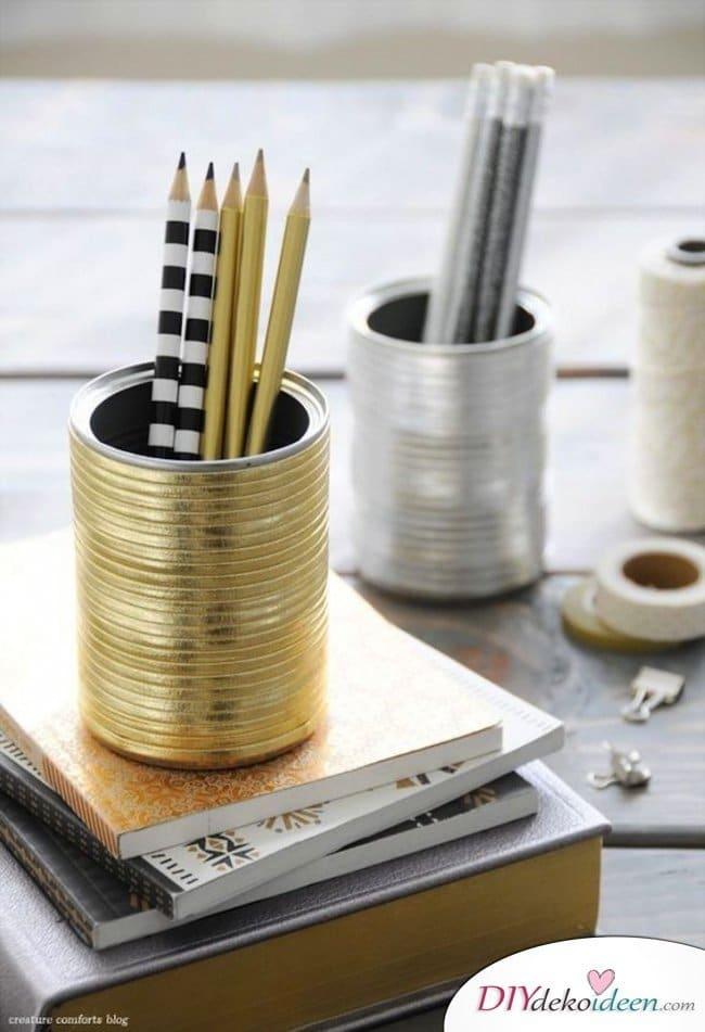 15+ DIY Bürodeko Ideen - DIY Stiftehalter basteln Dosen
