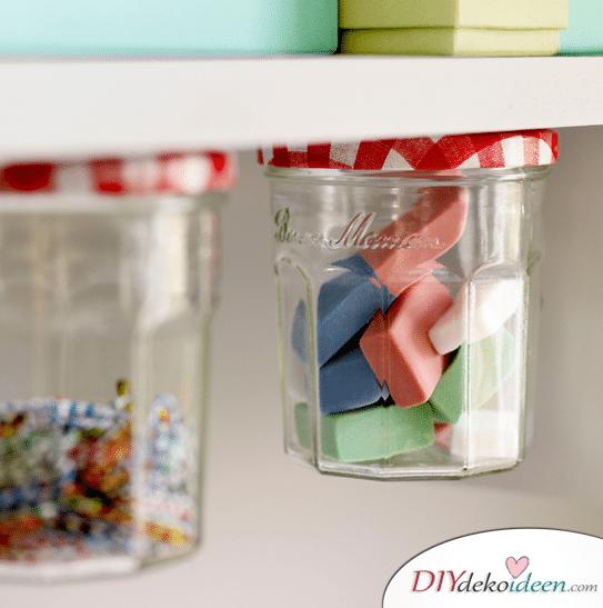 15+ DIY Bürodeko Ideen - DIY basteln mit Marmeladengläsern