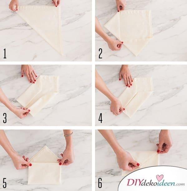 20 + DIY Bastelideen zur Hochzeit - Servietten falten Hochzeit Anleitung