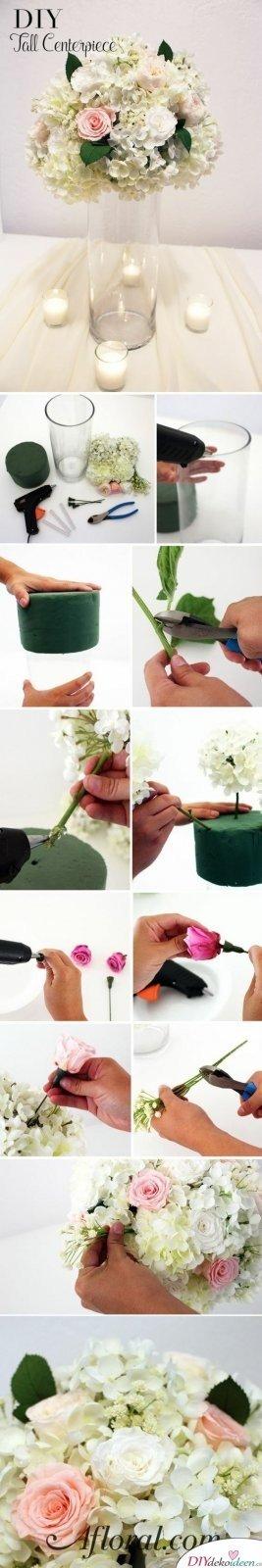 20 + DIY Bastelideen zur Hochzeit - DIY Blumen Tischschmuck