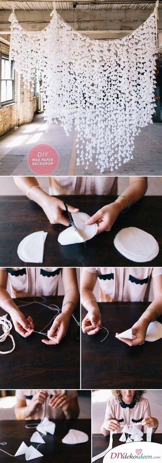20 + DIY Bastelideen zur Hochzeit - DIY Fotohintergrund - heiraten