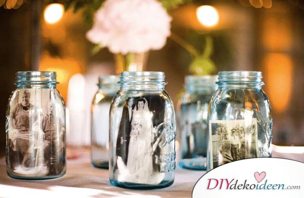 20 + DIY Bastelideen zur Hochzeit - Fotos im Glas