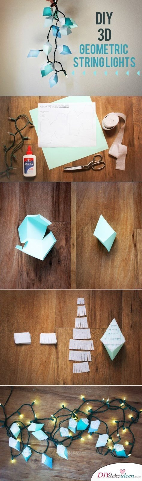 15 Bastelideen DIY Lampen selber machen - DIY geometrische Lichterkette