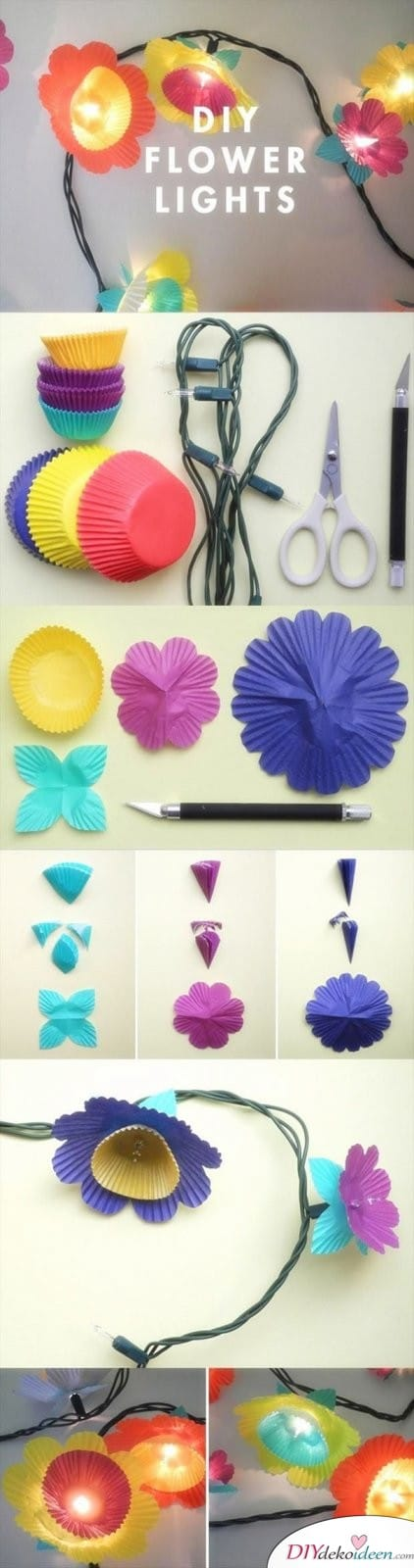 15 Bastelideen DIY Lampen selber machen - DIY Blumenlichterkette