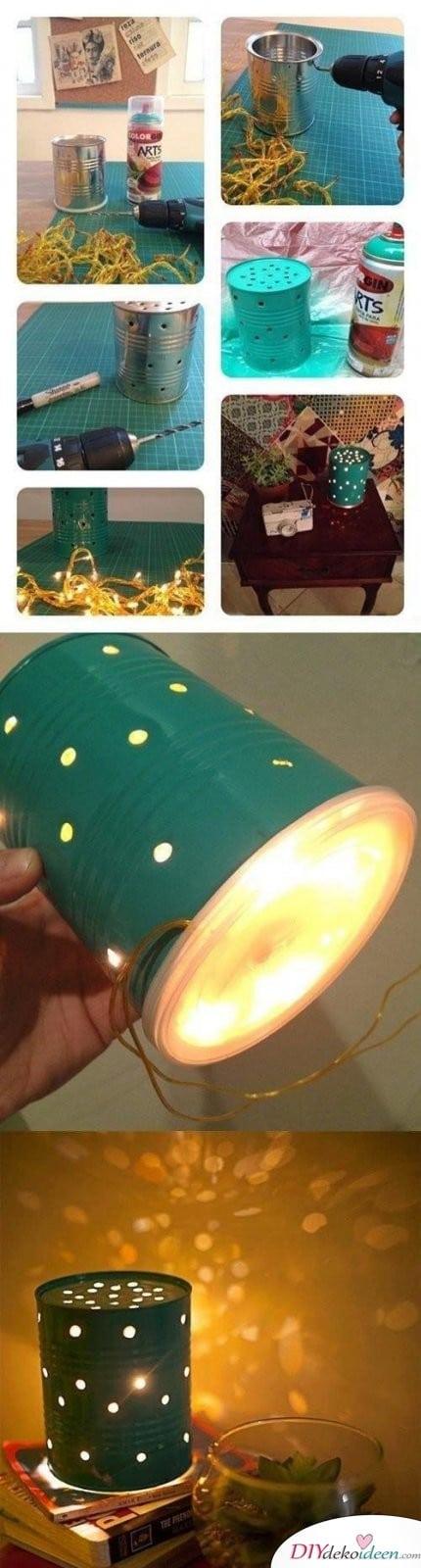 15 Bastelideen DIY Lampen selber machen - DIY Dosenlampe