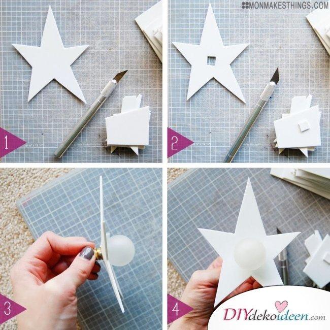 15 Bastelideen DIY Lampen selber machen - DIY Sternengirlande Anleitung