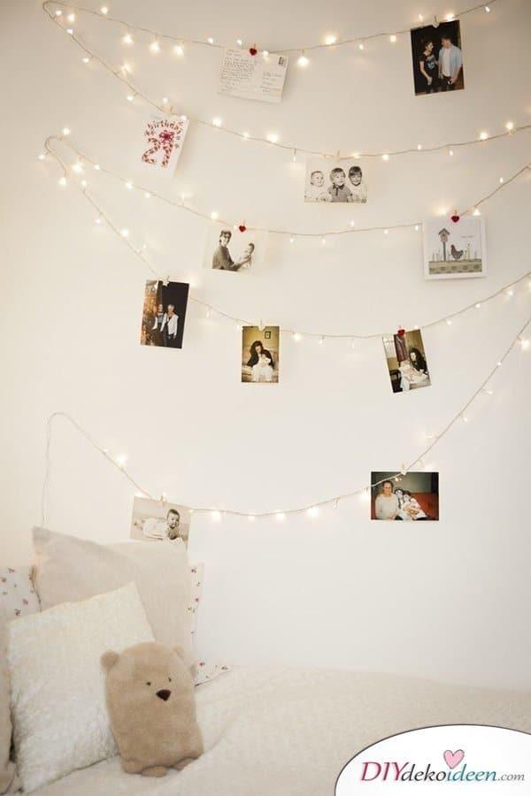 15 Bastelideen DIY Lampen selber machen - DIY Foto-Lichterkete