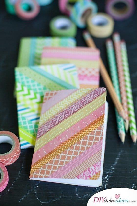 DIY Schulsachen selber basteln - Hefte mit Washi-Tape