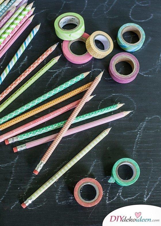 DIY Schulsachen selber basteln - Stifte mit Washi-Tape