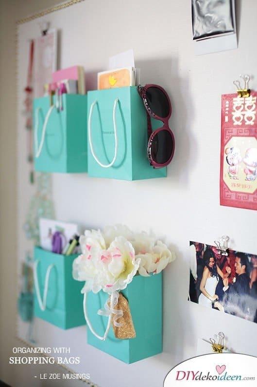 DIY Schulsachen selber basteln - Aufbewahrungsboxen aus Einkaufstüten