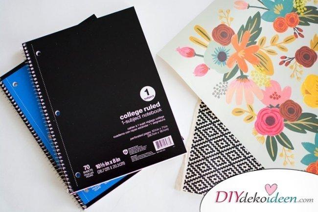 DIY Schulsachen selber basteln - Notizbücher mit Blumenmuster - Anleitung