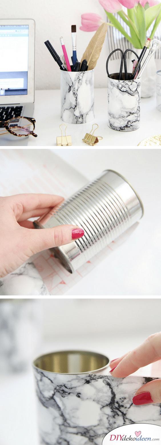 DIY Schulsachen selber basteln - Marmorierter Stiftehalter