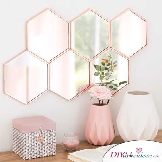 Dekoration für kleine Zimmer - 20 platzsparende Dekoideen - Wabenspiegel