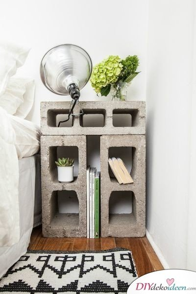 Dekoration für kleine Zimmer - 20 platzsparende Dekoideen - DIY Nachttisch