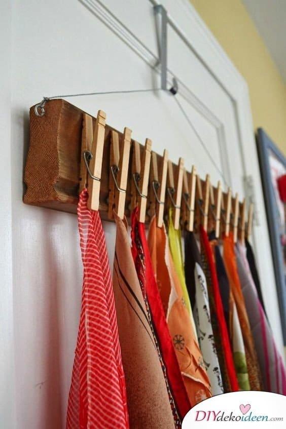 Dekoration für kleine Zimmer - 20 platzsparende Dekoideen - DIY Schalhalter