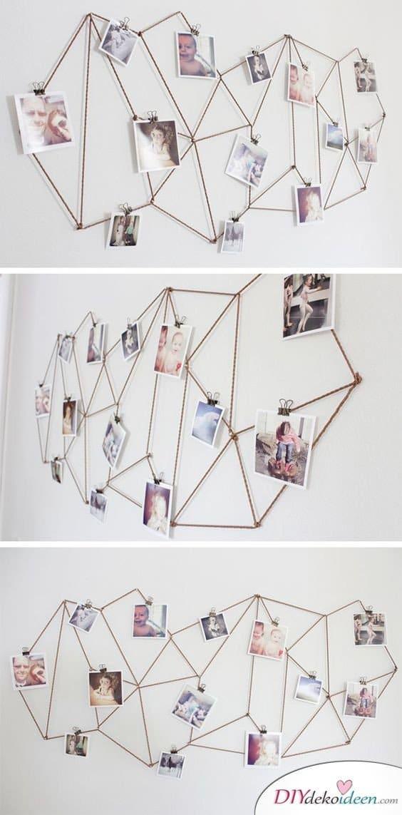 30+ Fotowände und Fotocollagen Ideen - Fotowand aus Metall