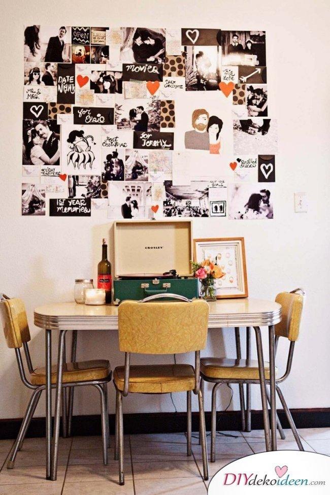 30+ Fotowände und Fotocollagen Ideen - romantisch Geschenk Fotowand