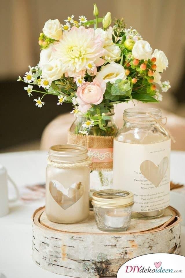 Hochzeitsdeko mit Einmachgläsern - Tischdeko