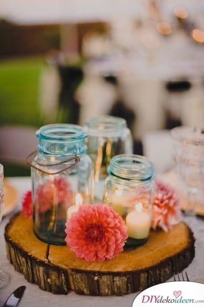 Hochzeitsdeko mit Einmachgläsern - DIY Kerzengläser