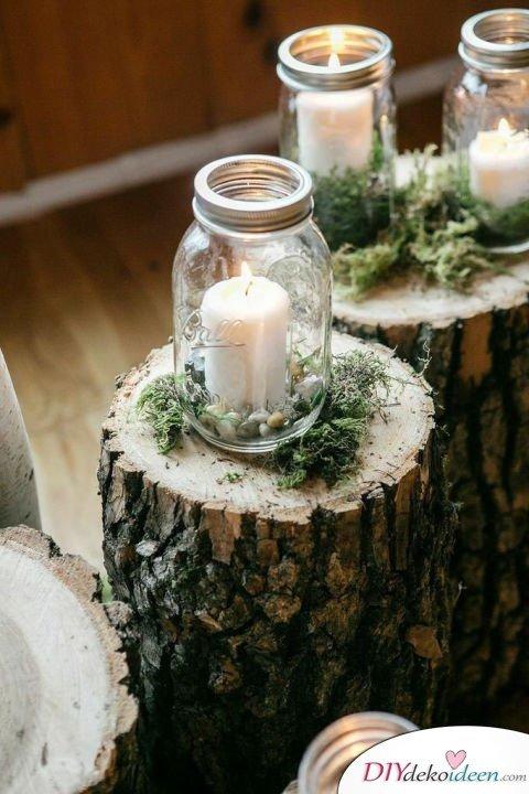 Hochzeitsdeko mit Einmachgläsern - Teelichter