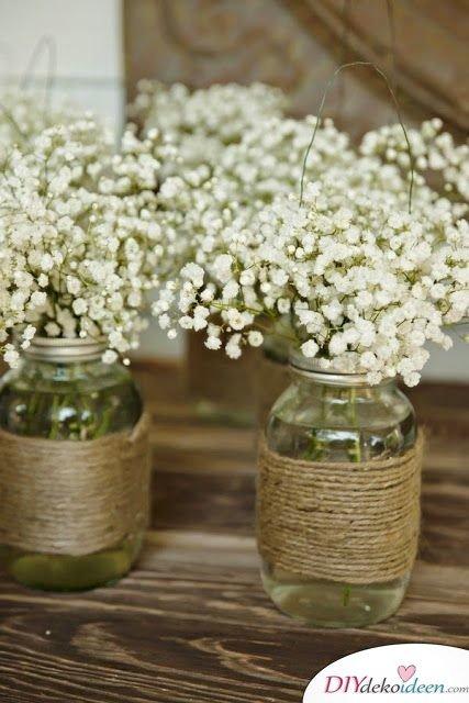 Hochzeitsdeko mit Einmachgläsern - Dekoideen für Hochzeitsplanung