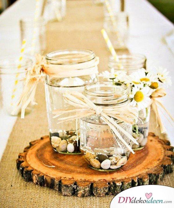 Hochzeitsdeko mit Einmachgläsern - Hochzeitsplanung Ideen