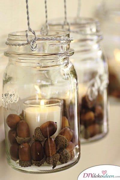 Hochzeitsdeko mit Einmachgläsern - Kerzen im Glas