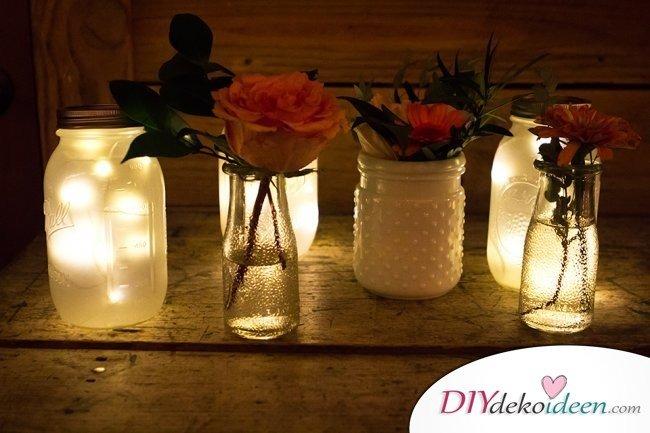 Hochzeitsdeko mit Einmachgläsern - DIY Beleuchtung Hochzeit