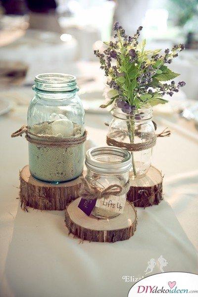 Hochzeitsdeko mit Einmachgläsern - Tischdeko Ideen