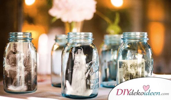 Hochzeitsdeko mit Einmachgläsern - Fotos im Glas