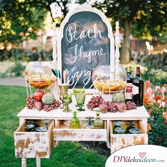 Obst Deko zur Hochzeit – Limonaden Bar