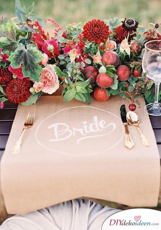 Obst Deko zur Hochzeit – Tischdeko Blumenschmuck