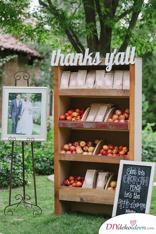 Obst Deko zur Hochzeit – Gastgeschenk