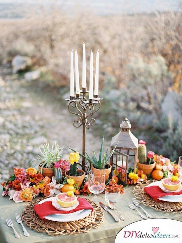 Obst Deko zur Hochzeit – Blumenschmuck Tischdeko Ideen