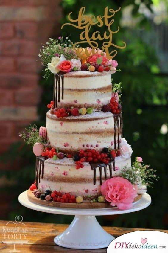Obst Deko zur Hochzeit – Hochzeitstorte mit Beeren